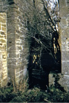 Kinnettles Mill:  wheelpit and remains of water wheel (corn mill on right, threshing mill on left), c1979