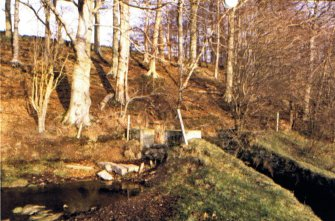 Kinnettles Mill:  mills lade and return sluice to Kerbet, exposed during flood prevention work, 2006