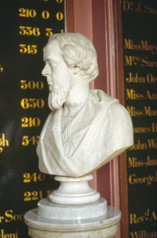 Detailed view of bust of Thomas Jamieson Boyd, within entrance hall of Royal Infirmary of Edinburgh.