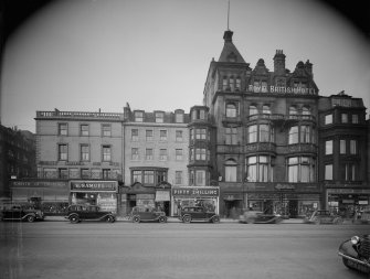 View of 17 - 25 Princes Street, Edinburgh, including Forsyth of Edinburgh, H Samuel Ltd, R.S. McColl, D Simpson Ltd Tobacconists, The Fifty Shilling Tailors, Royal British Hotel, Burton and Andrew Elliot Bookseller.