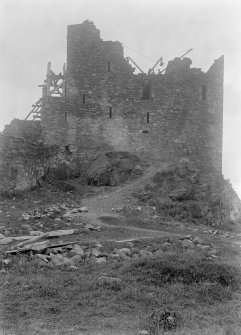 East wall, Eilean Donan Castle, during construction work.