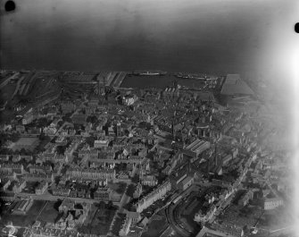 Greenock, general view, showing Albert Harbour.  Oblique aerial photograph taken facing north-east.
