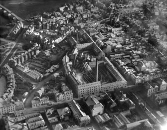 J Pullar and Sons Ltd. Dye Works, Kinnoull and Mill Streets, Perth.  Oblique aerial photograph taken facing south-east.