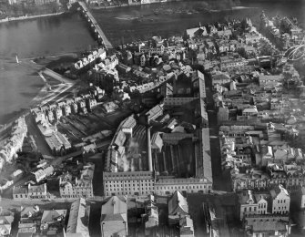 J Pullar and Sons Ltd. Dye Works, Kinnoull and Mill Streets, Perth.  Oblique aerial photograph taken facing east.