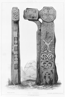 Cross, Canna, reverse and side faces. From J Stuart, The Sculptured Stones of Scotland, vol. ii, 1867, plate li.