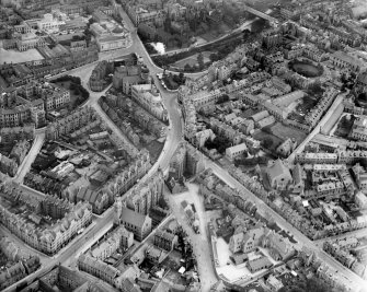 Aberdeen, general view, showing Rosemount Viaduct, Central Library and Union Terrace Gardens.  Oblique aerial photograph taken facing east.