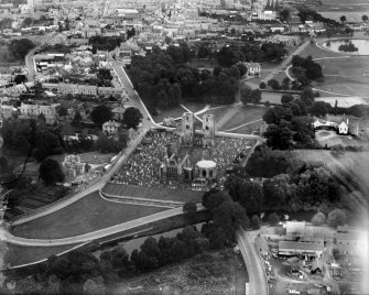 Elgin Cathedral and Burial Ground, Elgin.  Oblique aerial photograph taken facing west.