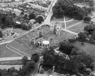 Elgin Cathedral and Burial Ground, Elgin.  Oblique aerial photograph taken facing south-west.