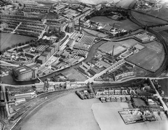 Clark and Co. Anchor Mills Thread Works, Paisley.  Oblique aerial photograph taken facing north-east.