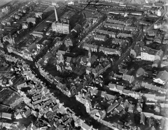 Falkirk, general view, showing St Andrew's Church and Falkirk Old Parish Church.  Oblique aerial photograph taken facing north.