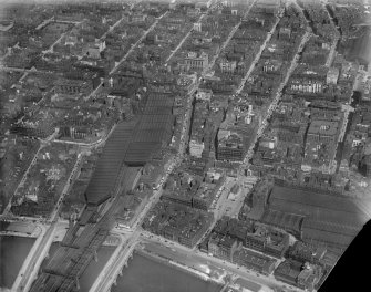 Glasgow, general view, showing Central Station, St Enoch Square and Renfield Street.  Oblique aerial photograph taken facing north.