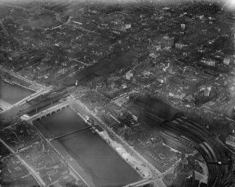 Glasgow, general view, showing Central Station, St Enoch Station and Buchanan Street.  Oblique aerial photograph taken facing north.