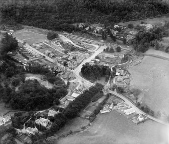 Birnam, general view, showing Dunkeld and Birnam Station and Perth Road.  Oblique aerial photograph taken facing south.