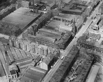 James Hendry Laminated Leather Works, Newhall Street, Glasgow.  Oblique aerial photograph taken facing north-west.