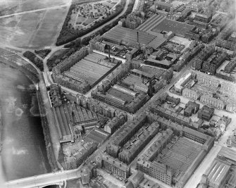 James Hendry Laminated Leather Works, Newhall Street and Clyde Thread Works, Main Street, Glasgow.  Oblique aerial photograph taken facing north-west.