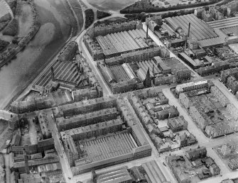 James Hendry Laminated Leather Works, Newhall Street and Clyde Thread Works, Main Street, Glasgow.  Oblique aerial photograph taken facing west.