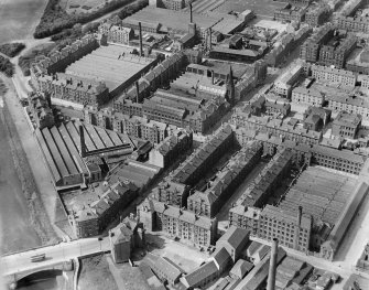 James Hendry Laminated Leather Works, Newhall Street and Clyde Thread Works, Main Street, Glasgow.  Oblique aerial photograph taken facing north.