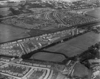 Saughtonhall Housing Estate and Saughton Park, Edinburgh.  Oblique aerial photograph taken facing north.