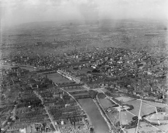 Glasgow, general view, showing Glasgow Green and Central Station.  Oblique aerial photograph taken facing north.