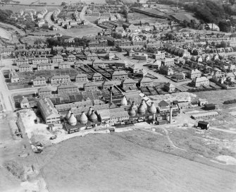 Kilmarnock, general view, showing Shanks and Co. Ltd. Longpark Pottery Works and Longpark Avenue.  Oblique aerial photograph taken facing south-east.