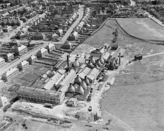 Shanks and Co. Ltd. Longpark Pottery Works, Kilmarnock.  Oblique aerial photograph taken facing south.