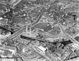 Paisley Abbey and George A Clark Town Hall, Gauze Street, Paisley.  Oblique aerial photograph taken facing north-east.