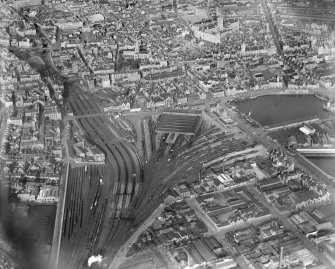Aberdeen, general view, showing Aberdeen Station and Kirk of St Nicholas, Union Street.  Oblique aerial photograph taken facing north.