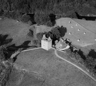 Gilnockie Tower, Hollows.  Oblique aerial photograph taken facing east.
