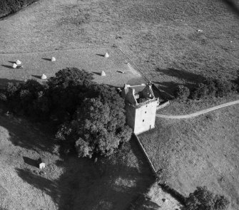 Gilnockie Tower, Hollows.  Oblique aerial photograph taken facing south.