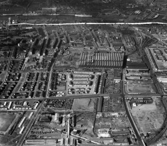 Glasgow, general view, showing Harland and Wolff Clyde Foundry, 184 Helen Street and Shieldhall Road, Govan.  Oblique aerial photograph taken facing north.  This image has been produced from a crop marked negative.