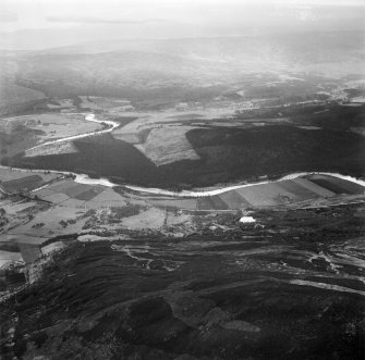 Dalliefour Wood and River Dee, Balmoral Estate.  Oblique aerial photograph taken facing south.