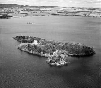 Lochleven Castle, Castle Island, Loch Leven.  Oblique aerial photograph taken facing north.