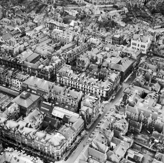 Inverness, general view, showing Douglas Hotel, Union Street and Old Town Hall, High Street.  Oblique aerial photograph taken facing south-east.