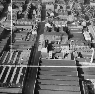 Arbuckle, Smith and Co. Warehouse, Lancefield Street, Glasgow.  Oblique aerial photograph taken facing north.  This image has been produced from a crop marked negative.