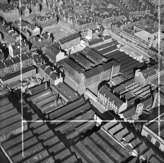 Arbuckle, Smith and Co. Warehouse, Lancefield Street, Glasgow.  Oblique aerial photograph taken facing north-east.  This image has been produced from a crop marked negative.