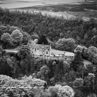 Airlie Castle.  Oblique aerial photograph taken facing south.  This image has been produced from a crop marked negative.