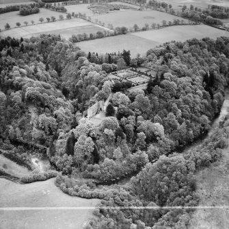 Airlie Castle and Formal Garden.  Oblique aerial photograph taken facing east.  This image has been produced from a crop marked negative.