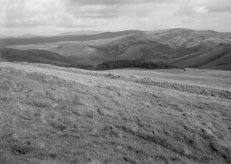 Woden Law, native fort and Roman investing works: eastwards panorama to Cheviot and The Schill. I