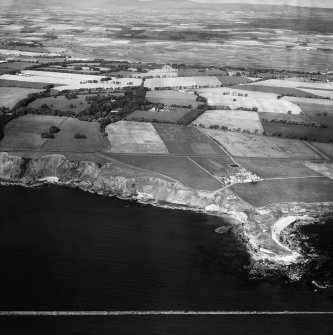 Boddin Point and Mains of Dunninald, Montrose.  Oblique aerial photograph taken facing north.  This image has been produced from a crop marked negative.