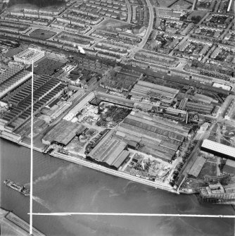 Mechans Ltd. Scotstoun Ironworks and Clyde Structural Iron Co. Clydeside Ironworks, South Street, Glasgow.  Oblique aerial photograph taken facing north.  This image has been produced from a crop marked negative.