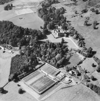 Kinfauns Castle and Walled Garden, Kinfauns.  Oblique aerial photograph taken facing north-west.