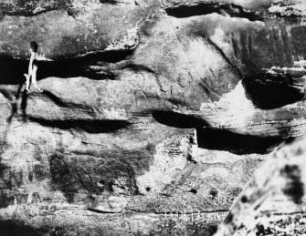 View of carvings, Dovecot Cave, East Wemyss.