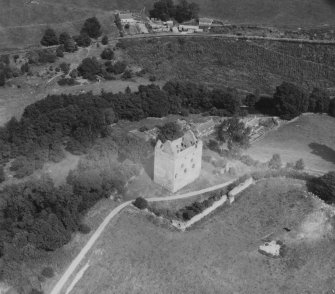 Newark Castle, Selkirk.  Oblique aerial photograph taken facing north-east.  This image has been produced from a print.