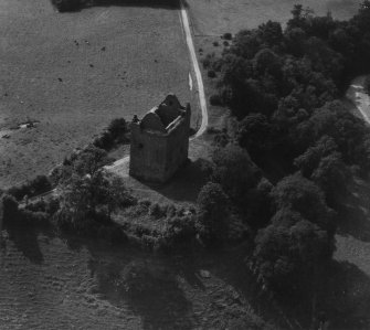 Newark Castle, Selkirk.  Oblique aerial photograph taken facing west.  This image has been produced from a print.
