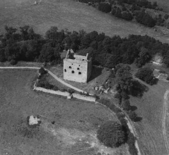 Newark Castle, Selkirk.  Oblique aerial photograph taken facing north.  This image has been produced from a print.