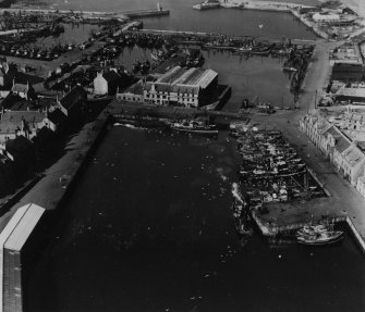 South and North Harbours, Peterhead.  Oblique aerial photograph taken facing north.  This image has been produced from a print.