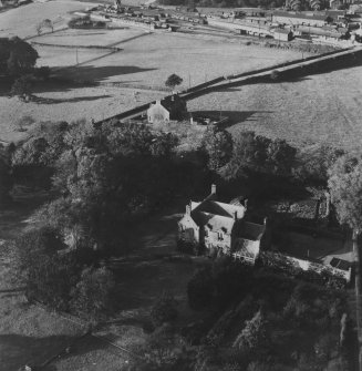 The Elms, Scroggie Meadow, Annan.  Oblique aerial photograph taken facing north.  This image has been produced from a print.