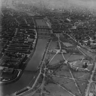Glasgow, general view, showing Glasgow Green and St Enoch Station.  Oblique aerial photograph taken facing north-west.  This image has been produced from a print.