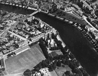 Inverness, general view, showing Cathedral Church of St Andrew, Ardross Street and Ness Bridge.  Oblique aerial photograph taken facing north-east.  This image has been produced from a print.
