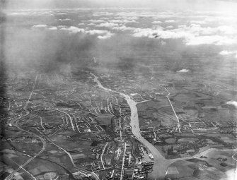 Glasgow, general view, showing Clydebank and Prince's Dock.  Oblique aerial photograph taken facing south-east.  This image has been produced from a print.